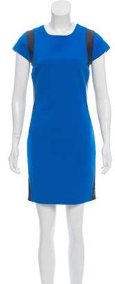 Diane von Furstenberg Leather-Accented Mini Dress