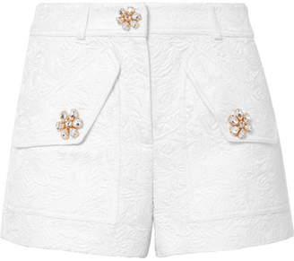 Michael Kors Crystal-embellished Floral-jacquard Shorts