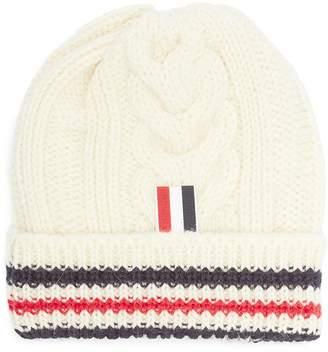 Thom Browne 'Aran' stripe wool cable knit beanie