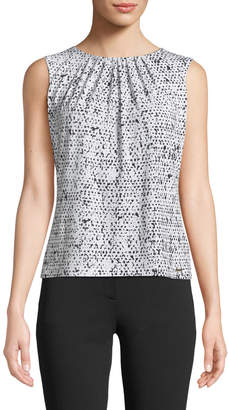 Iconic American Designer Speckled-Print Pleated Camisole