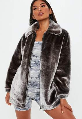 Missguided Grey Oversized Faux Fur Jacket