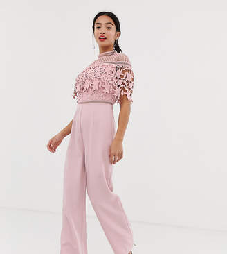 Chi Chi London Petite high neck lace top jumpsuit in pink