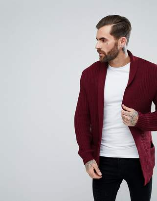 Asos DESIGN knitted cardigan in burgundy