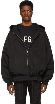 Fear Of God Black Nylon Full Zip Hooded Jacket