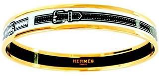 Hermes White Black Narrow Gold Printed Enamel Bracelet