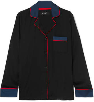 DKNY After Hours Washed-satin Pajama Shirt - Black