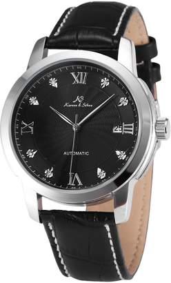 K&S KS Luxury Auto Mechanical Date Diamond Men's Leather Dress Analog Wrist Watch KS092