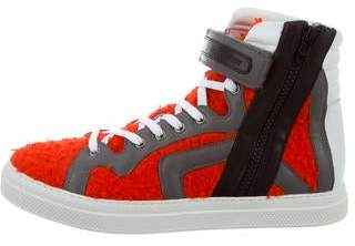 Pierre Hardy Leather-Trimmed High-Top Sneakers w/ Tags