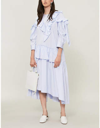 Simone Rocha Asymmetric ruffled cotton-poplin dress
