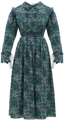Horror Vacui Marie Louis Floral Print Smocked Cotton Dress - Womens - Green Multi