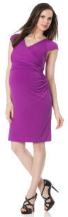 A Pea in the Pod Short Sleeve Faux Wrap Maternity Dress
