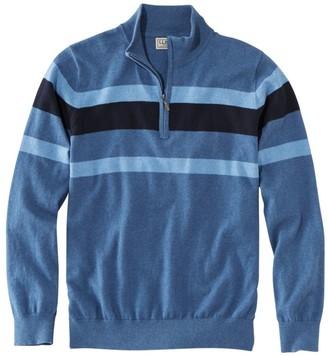 L.L. Bean L.L.Bean Men's Cotton/Cashmere Sweater, Quarter-Zip Stripe
