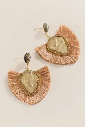 francesca's Jane Stone Tassel Earrings - Taupe