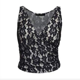 3708f40fbd28a1 Philosofée by Glaucia Stanganelli - Black Lace Crop Top