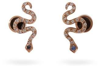 Ileana Makri Little Snake 18kt Rose Gold And Sapphire Earrings - Womens - Gold