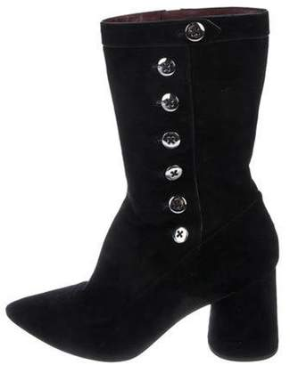 Marc Jacobs Suede Mid-Calf Boots Black Suede Mid-Calf Boots