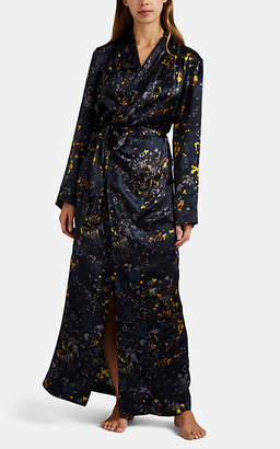Raven & Sparrow by Stephanie Seymour Women's Jean Floral Silk Robe - Navy