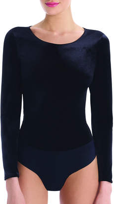 Commando Velvet Round-Neck Long-Sleeve Cheeky Bodysuit