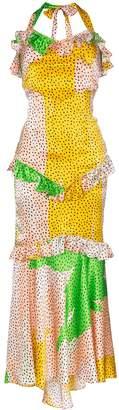 De La Vali printed halterneck silk maxi dress