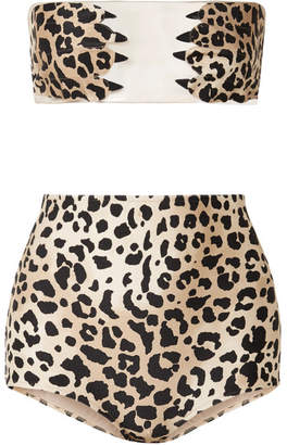 Charlotte Olympia Adriana Degreas Paws Tulle-paneled Leopard-print Bandeau Bikini - Leopard print