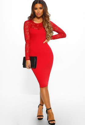 Pink Boutique Miss Romantic Red Lace Long Sleeve Bodycon Midi Dress