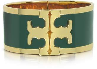 Tory Burch Tory Gold Brass and Banyan Green Enamel Raised Logo Wide Cuff Bracelet