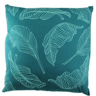 "Northlight 17"" Teal Green Tropical Leaf Decorative Cotton Canvas Throw Pillow"