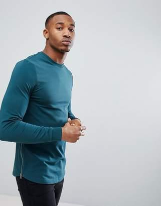 Asos DESIGN Muscle Longline Sweatshirt With Side Zips & Curved Hem In Teal