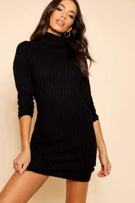 boohoo Long Line Ribbed Tunic With Roll Neck