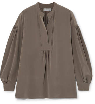 Vince Washed-silk Blouse - Gray green
