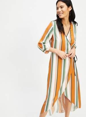 Miss Selfridge Rust stripe print wrap midi tea dress