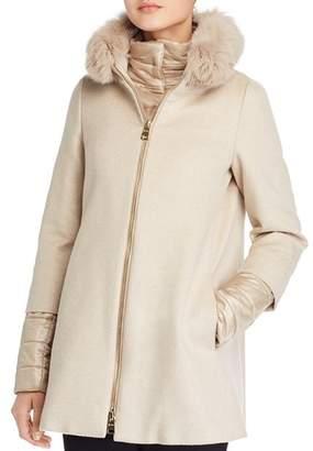 Herno Fox Fur Trim Cashmere Coat