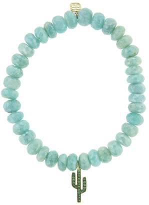 Sydney Evan Emerald Cactus Charm On Amazonite Beaded Bracelet