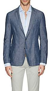 Barneys New York Men's Cotton-Linen Chambray Three-Button Sportcoat-Blue