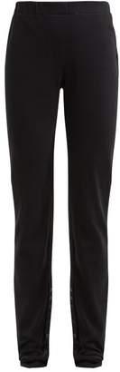Lemaire Buttoned Cuff Fine Knit Cotton Leggings - Womens - Black