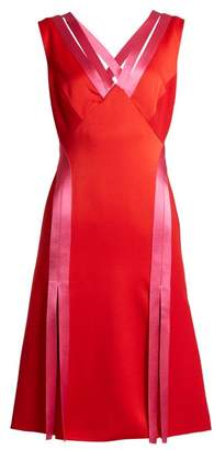 Versace Contrast Trim Crepe Dress - Womens - Red Multi
