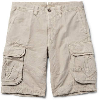 Incotex Washed Cotton and Linen-Blend Cargo Shorts - Men - Neutral