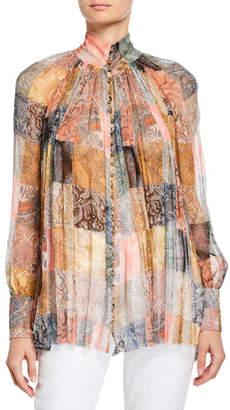 Zimmermann Printed High-Neck Smocked Silk Top