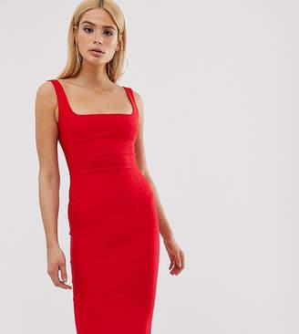 Vesper Tall square neck pencil dress in red