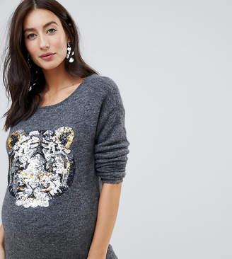 Mama Licious Mama.Licious Mamalicious sequin tiger jumper