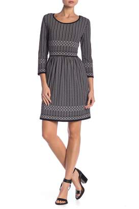 Max Studio Printed 3/4 Sleeve Dress