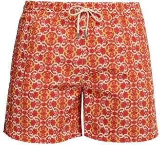 Le Sirenuse Le Sirenuse, Positano - Double Maze Printed Swim Shorts - Mens - Orange Multi