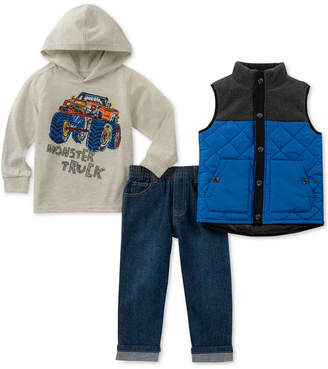 Kids Headquarters Toddler Boys 3-Pc. Monster Truck Hoodie, Vest & Jeans Set