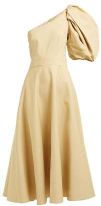 BEIGE Françoise Francoise - Asymmetric Puff Sleeve Cotton Midi Dress - Womens
