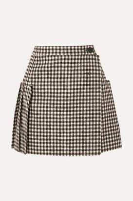 2ebe93f1aa Vivienne Westwood Frayed Pleated Gingham Wool Wrap Mini Skirt - Black