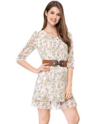 Allegra K Women's Above Knee Layered 3/4 Sleeve Floral Belted Dress
