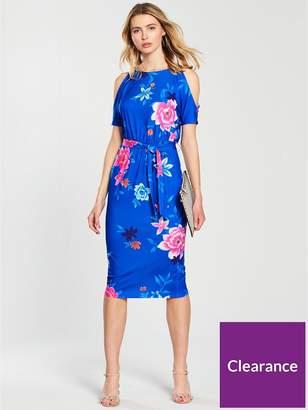 Very Cold Shoulder Midi Jersey Dress - Blue Floral