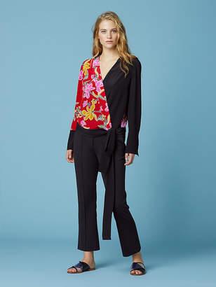 Diane von Furstenberg Long Sleeve Crossover Silk Blouse