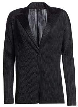 Pleats Please Issey Miyake Women's Mannish Suit Jacket - Black - Size 3 (Medium)