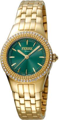 Ferré Milano Women's 30mm Stainless Steel 3-Hand Glitz Watch with Bracelet, Golden/Green